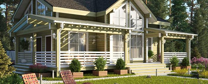 Проект дома из клееного бруса Бествиль 220 кв. м., 4 спальни и 2 санузла