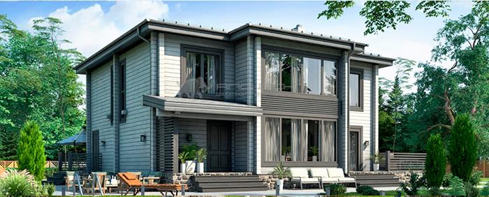 Проект дома из клееного бруса Бухарест 300 кв. м., 5 спален и 3 санузла
