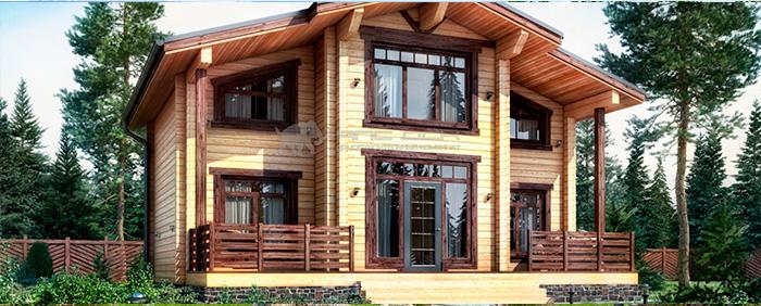 Проект дома из клееного бруса Форта 160 кв. м., 4 спальни и 2 санузла