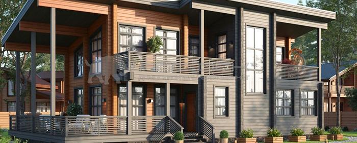 Проект дома из клееного бруса Хельсинки 260 кв. м., 5 спален и 3 санузла
