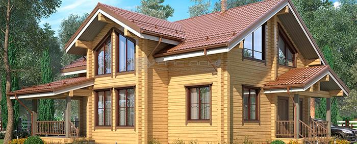 Проект дома из клееного бруса Норвегия 200 кв. м., 6 спален и 2 санузла