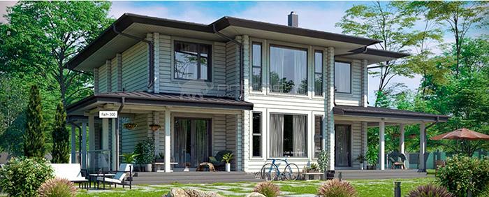 Проект дома из клееного бруса Райт 300 кв. м., 6 спален и 4 санузла