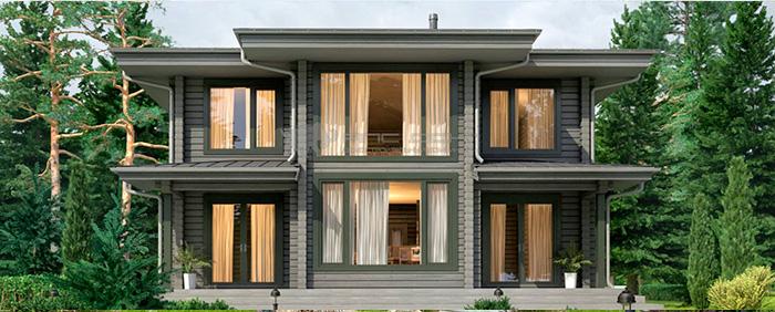 Проект дома из клееного бруса Райт 210 кв. м., 4 спальни и 2 санузла